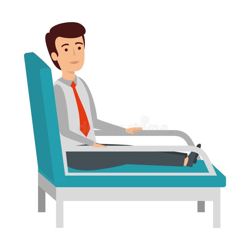 Affärsman som sitter i psykiaterstol vektor illustrationer