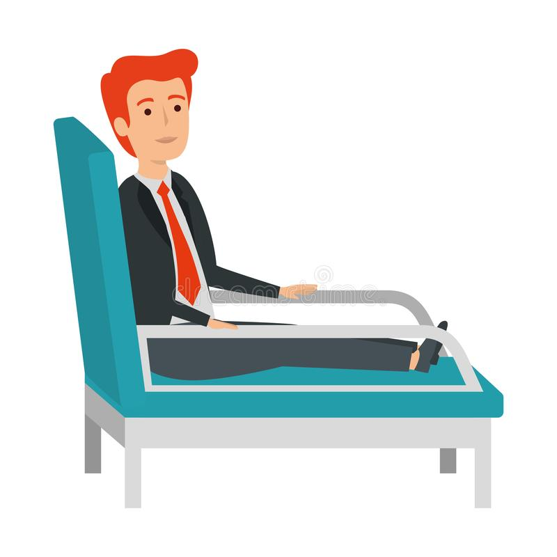 Affärsman som sitter i psykiaterstol stock illustrationer