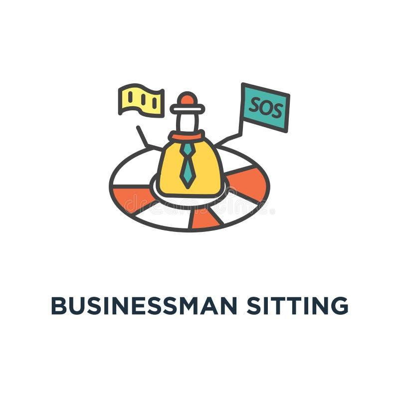 affärsman som sitter på jorden och arbetar med mobiltelefonsymbolen det finns geoben på världskartan, global affärsidé royaltyfri illustrationer