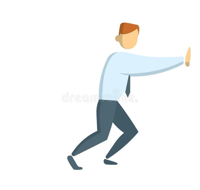Affärsman som skjuter väggen Hellångt diagram av den unga affärsmannen Plan vektorillustration Isolerat på vit stock illustrationer
