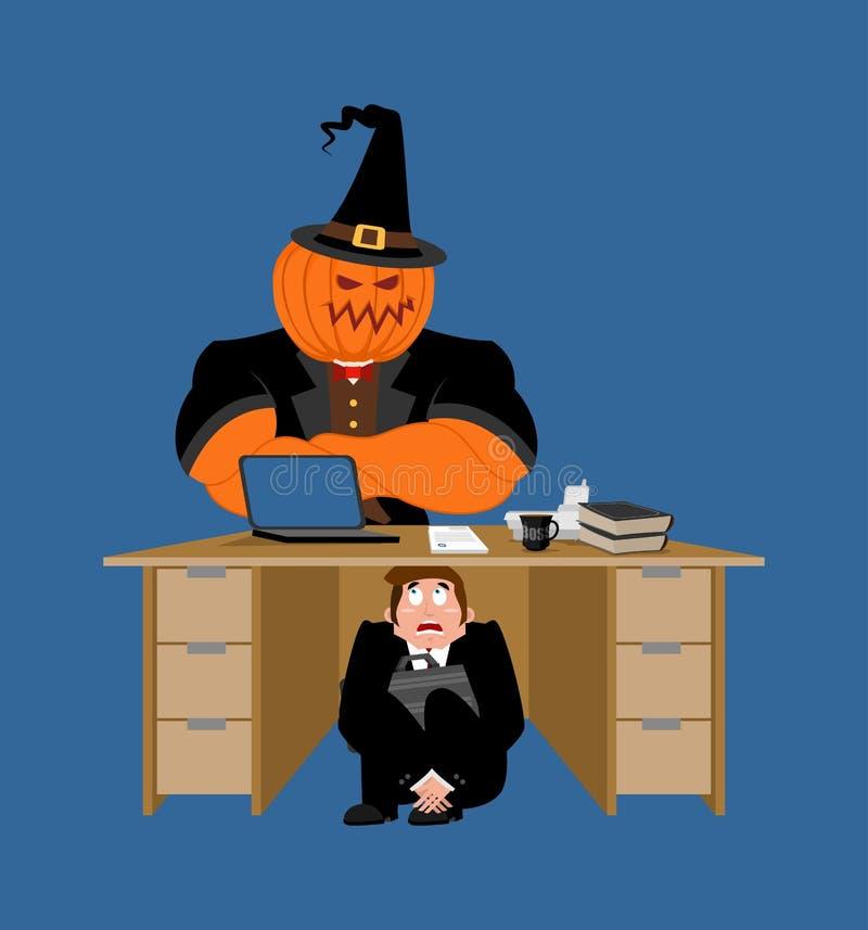 Affärsman som skrämmas under tabellen av pumpa skrämd affär M stock illustrationer