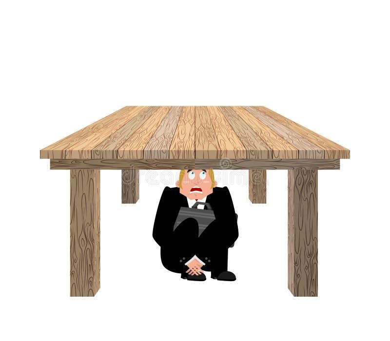Affärsman som skrämmas under tabellen skrämd affärsman under wo royaltyfri illustrationer