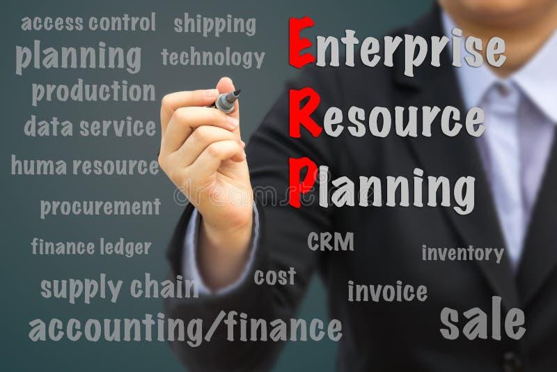 Affärsman som skriver ERP-begrepp royaltyfri bild
