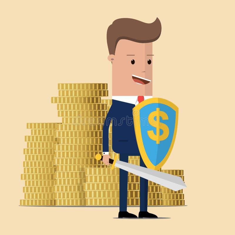 Affärsman som skyddar guld- mynt med skölden och svärdet Affärsmannen skyddar pengar från skatt och skuld med svärdet och skölden royaltyfri illustrationer