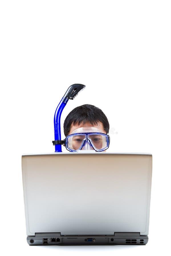 affärsman som snorkeling fotografering för bildbyråer