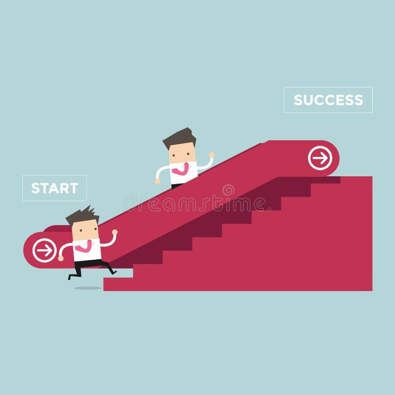 Affärsman som som upp till går rulltrappa till framgång och en annan man som klättrar trappan royaltyfri illustrationer