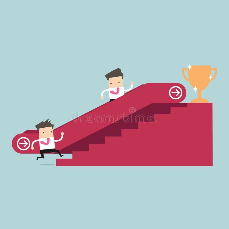 Affärsman som som upp till går rulltrappa till framgångtrofén och en annan man som klättrar trappan stock illustrationer