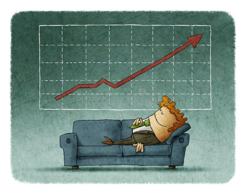 Affärsman som sover på soffan mot av lyckad graf stock illustrationer