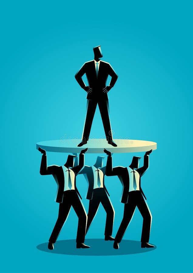 Affärsman som stöttas av affärskollegor vektor illustrationer