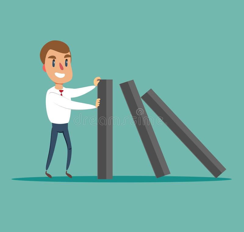 Affärsman som stoppar fallande dominobricka - begrepp Symbol av krisen, risken, ledning, ledarskap och beslutsamhet royaltyfri illustrationer