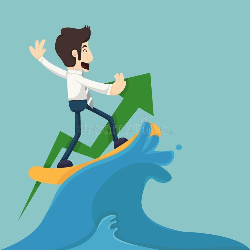 Affärsman som surfar på våg royaltyfri illustrationer