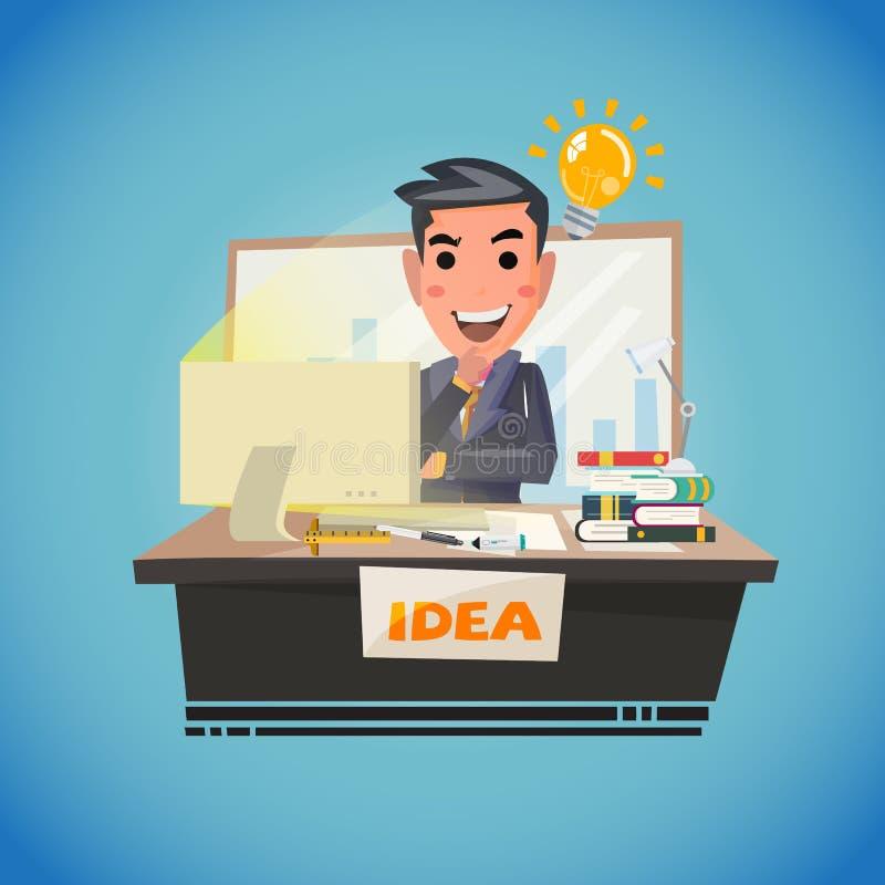 Affärsman som tänker med den ljusa kulan idérik idé ila funderaren stock illustrationer