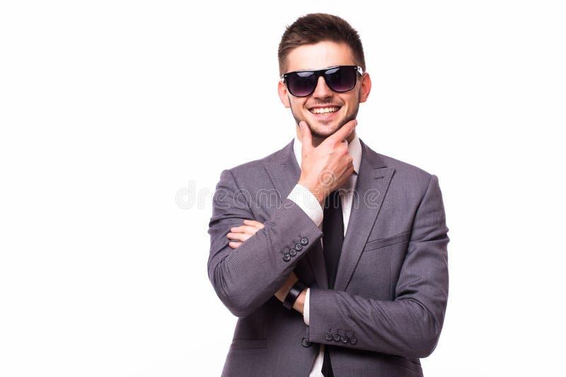 Affärsman som tänker med den near framsidan för hand royaltyfria foton