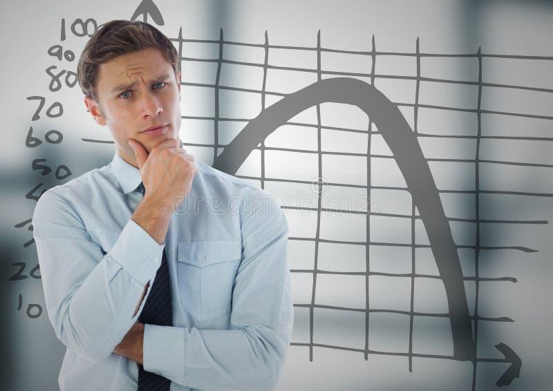 Affärsman som tänker mot grafklotter och oskarpt grått kontor royaltyfria foton