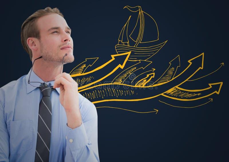 Affärsman som tänker mot gult fartygklotter och marinbakgrund arkivbild