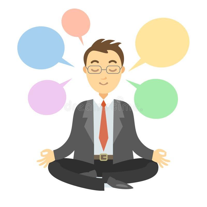 Affärsman som tänker under meditation affärsman som gör yoga royaltyfri illustrationer