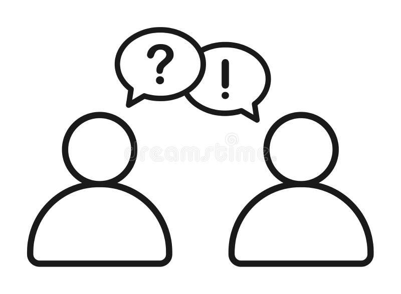 Affärsman som talar med symbolen för information om frågesvar royaltyfri illustrationer