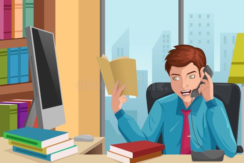 Affärsman som talar på telefonen royaltyfri illustrationer