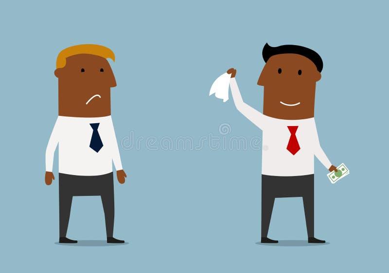 Affärsman som tar pengar från konkurrent royaltyfri illustrationer
