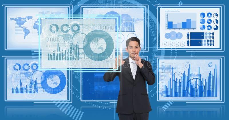 Affärsman som trycker på och påverkar varandra med teknologimanöverenhetspaneler stock illustrationer