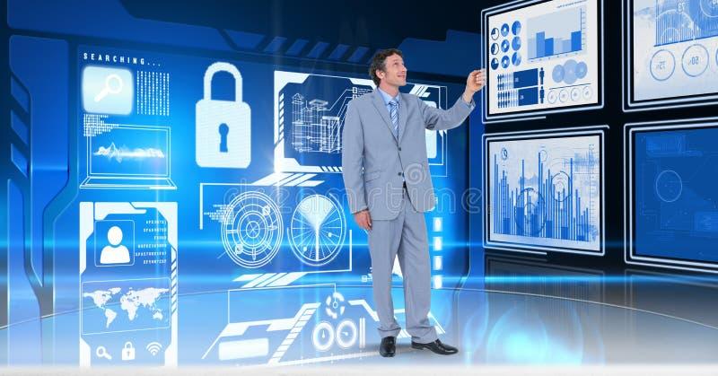 Affärsman som trycker på och påverkar varandra med teknologimanöverenhetspaneler royaltyfri illustrationer