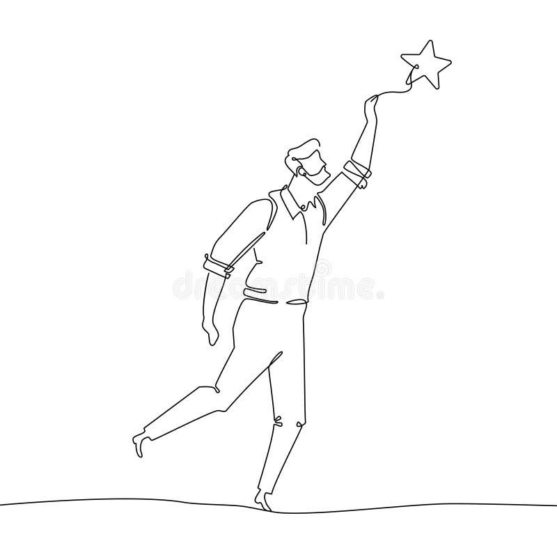 Affärsman som trycker på stjärnan - en linje designstilillustration royaltyfri illustrationer