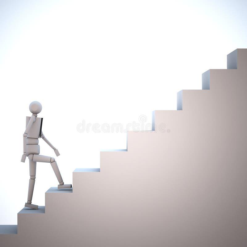 Affärsman som upp går trappan stock illustrationer