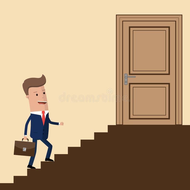 Affärsman som upp går trappan till dörren Affärsman som upp kliver en trappuppgång till framgång äganderätt för home tangent för  stock illustrationer