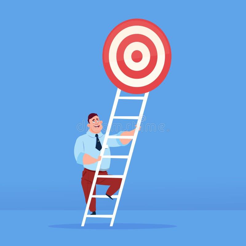 Affärsman som upp till kliver målet överst av begreppet för trappaaffärsframgång på blått utrymme för bakgrundslägenhetkopia stock illustrationer