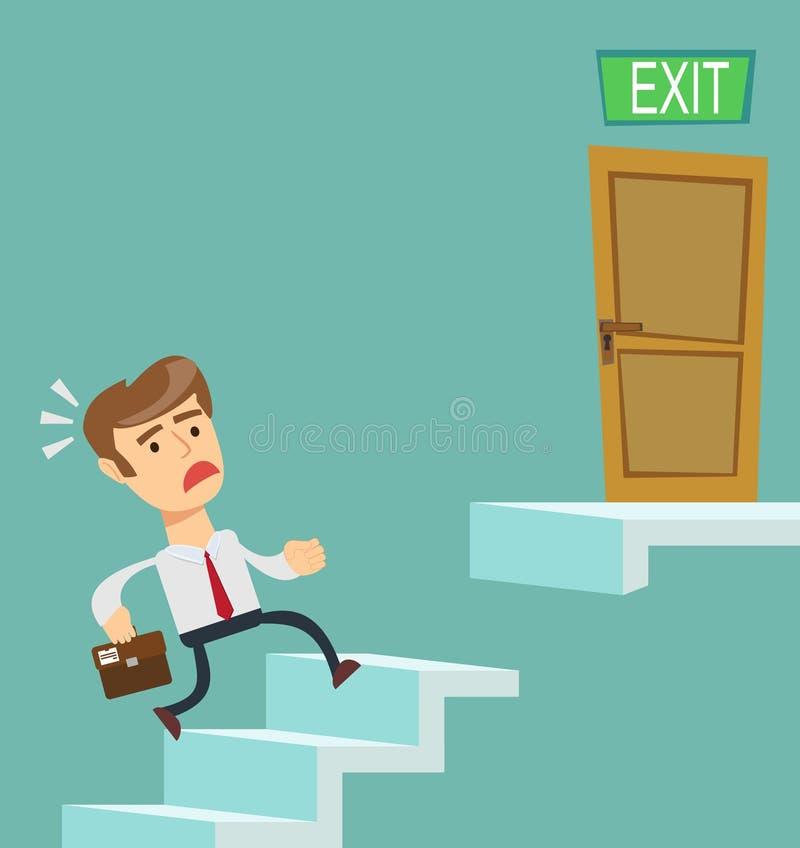 Affärsman som uppför trappan stadigt går, royaltyfri illustrationer