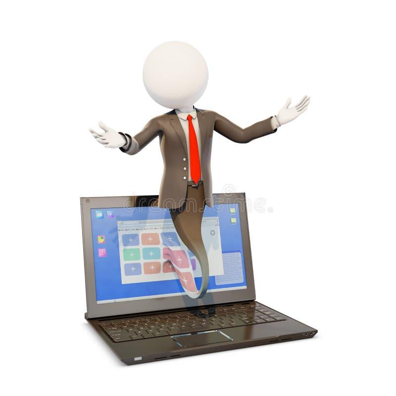 Affärsman som ut poppar från en bärbar datorskärm vektor illustrationer