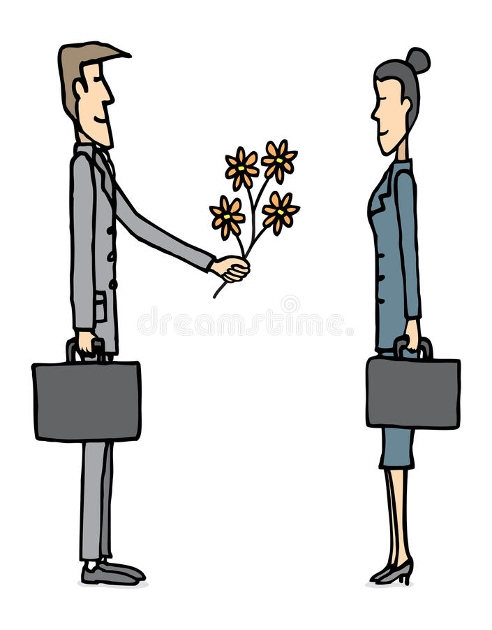 Affärsförälskelse/affärsman som ger blommor vektor illustrationer