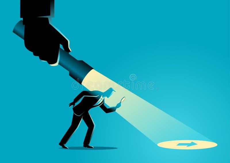 Affärsman som vägledas av en hand som rymmer en ficklampa royaltyfri illustrationer