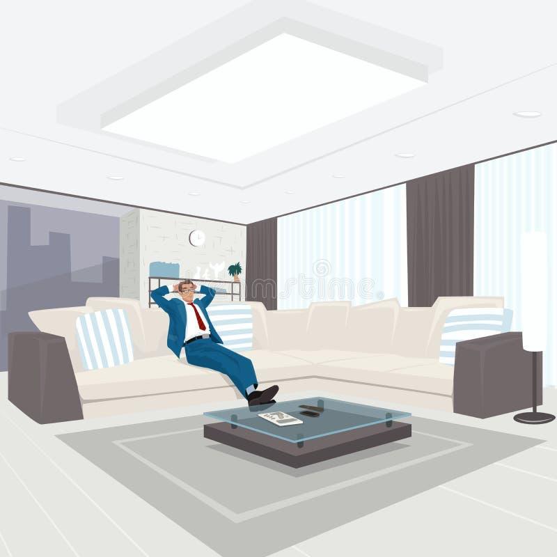 Affärsman som vilar i vardagsrum stock illustrationer