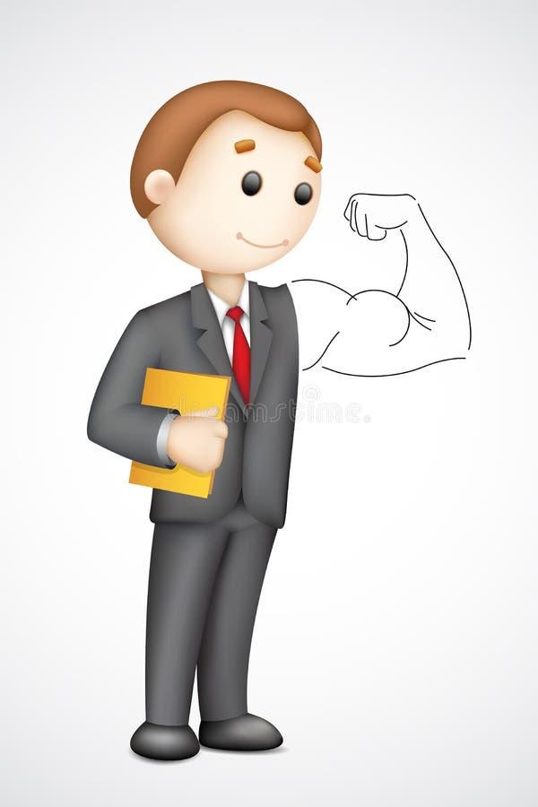 Affärsman som visar bicepsen stock illustrationer