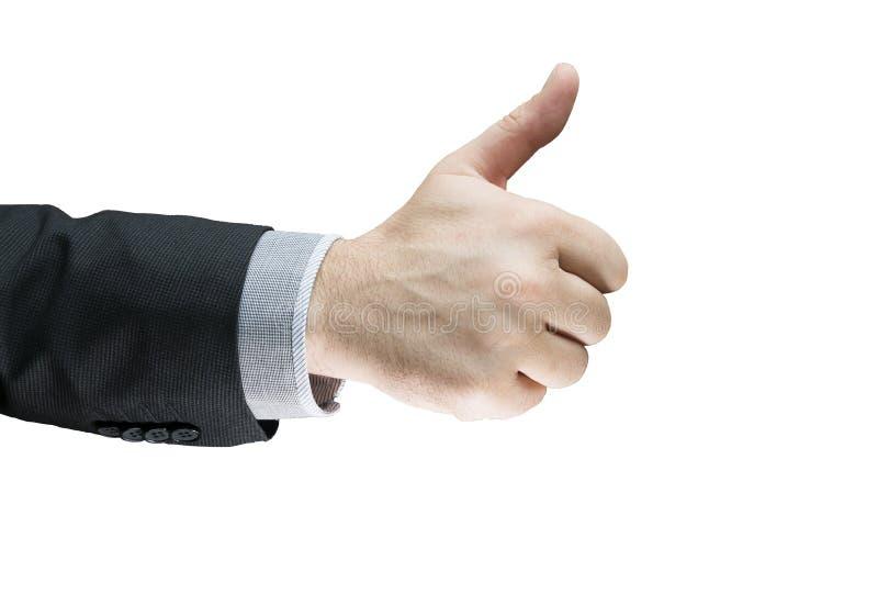 Affärsman som visar det reko tecknet med hans tumme som isoleras upp med vit bakgrund framgångaffärsavtal Affärsmannen i en dräkt royaltyfri fotografi