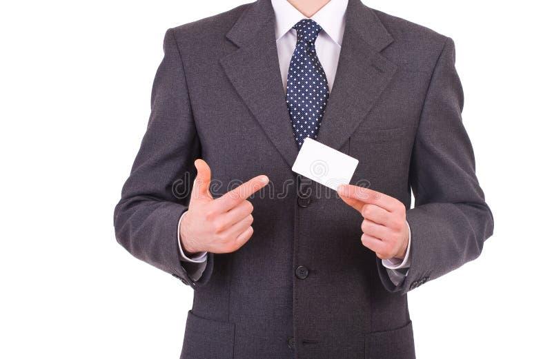 Affärsman som visar det tomma kortet. royaltyfri fotografi