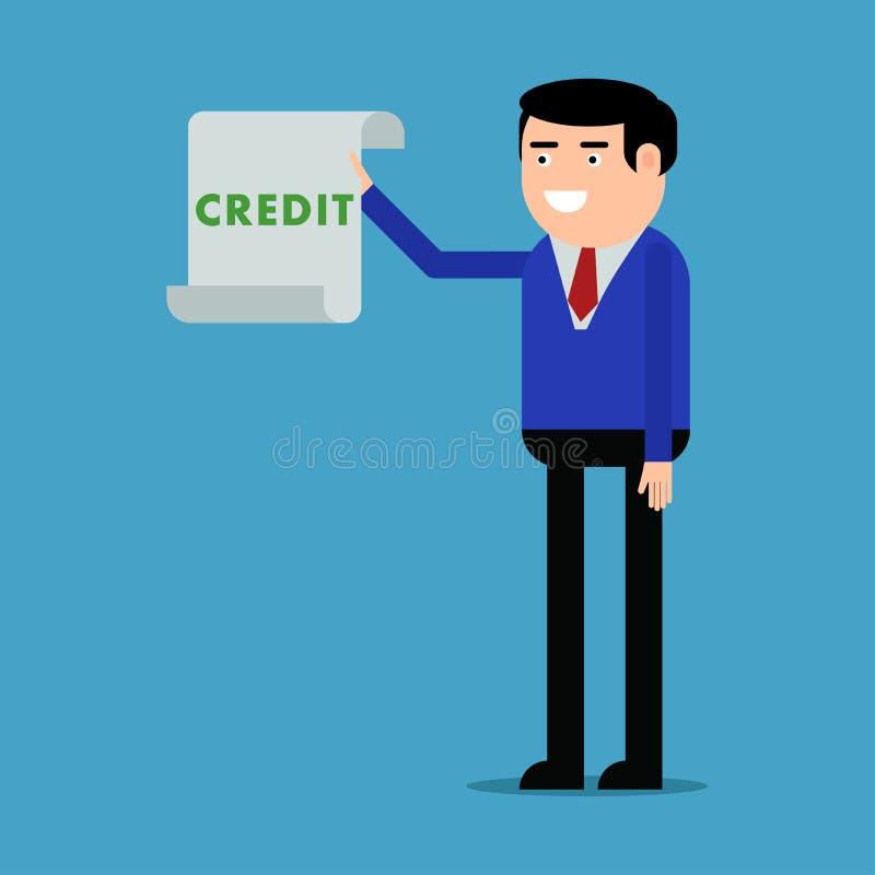 Affärsman som visar en lånöverenskommelse royaltyfri illustrationer