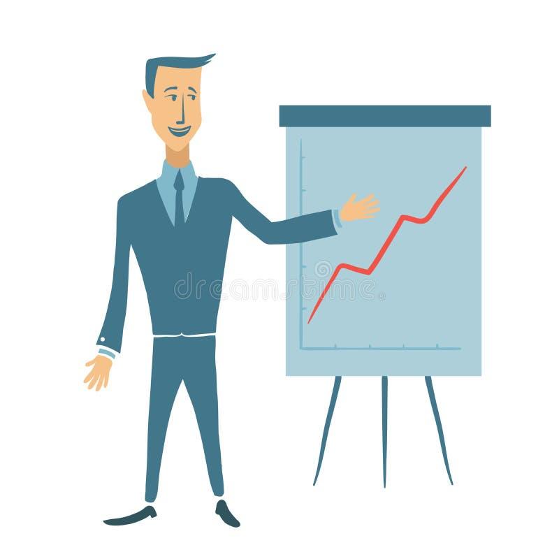 Affärsman som visar ett uppåtriktat diagram Ung man på presentationen Plan illustration för vektor som isoleras på vit royaltyfri illustrationer