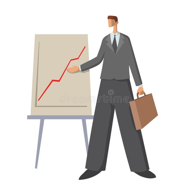 Affärsman som visar ett uppåtriktat diagram Ung man på presentationen Plan illustration för vektor som isoleras på vit stock illustrationer