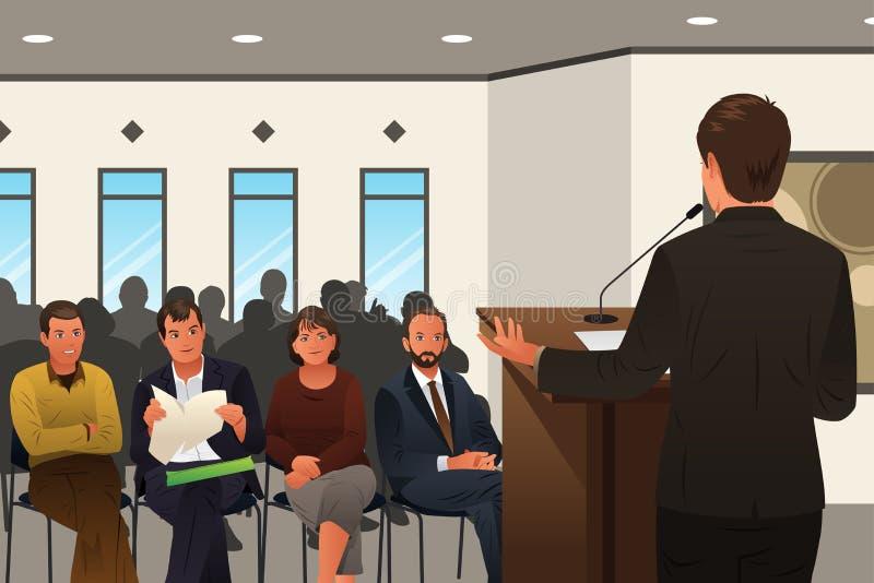 Affärsman Speaking på ett podium i en konferens eller ett seminarium stock illustrationer