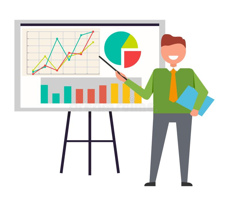 Affärsman Standing på växelverkande Whiteboard vektor illustrationer