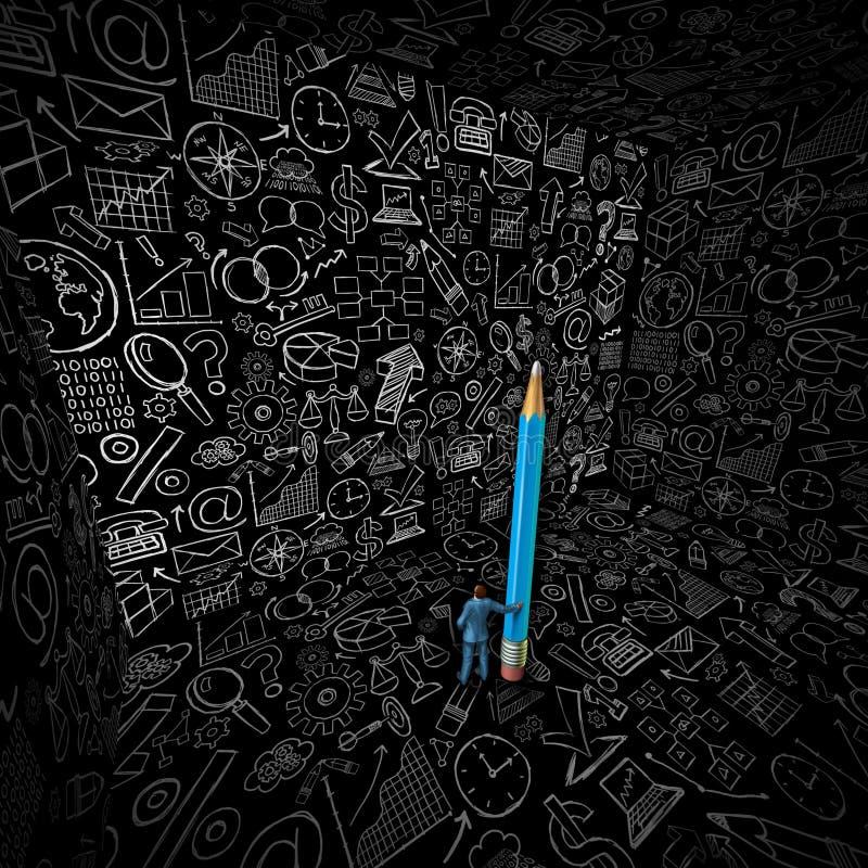 Affärsman Strategy Drawing stock illustrationer