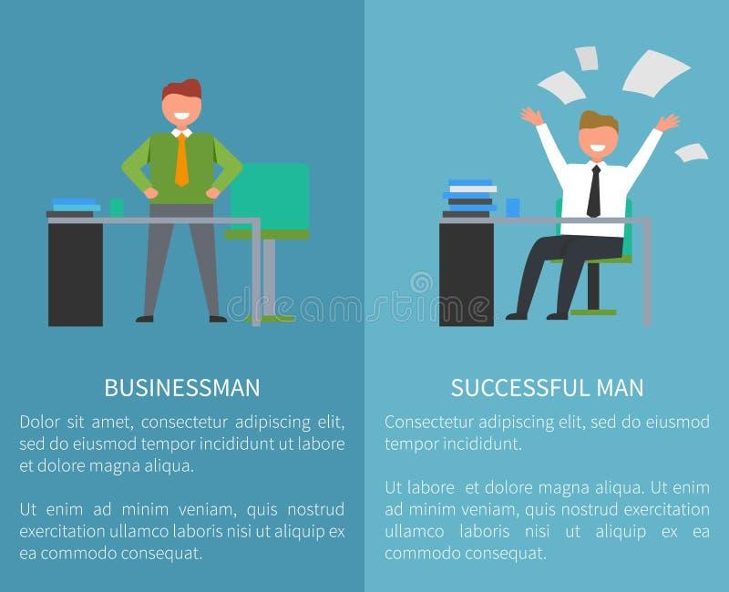 Affärsman Successful Man på arbete vektor för set för tecknad filmhjärtor polar vektor illustrationer