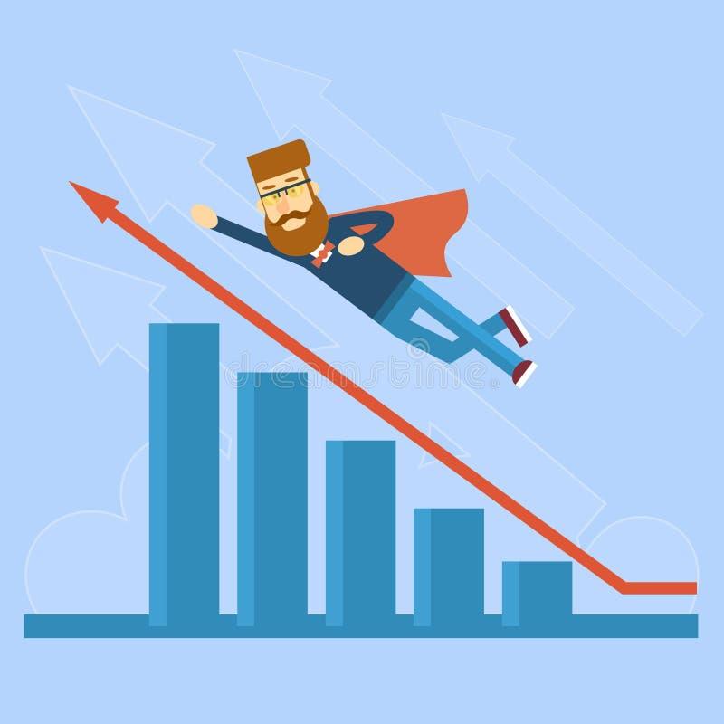Affärsman Super Hero Fly upp röd pil för finansiell graf vektor illustrationer