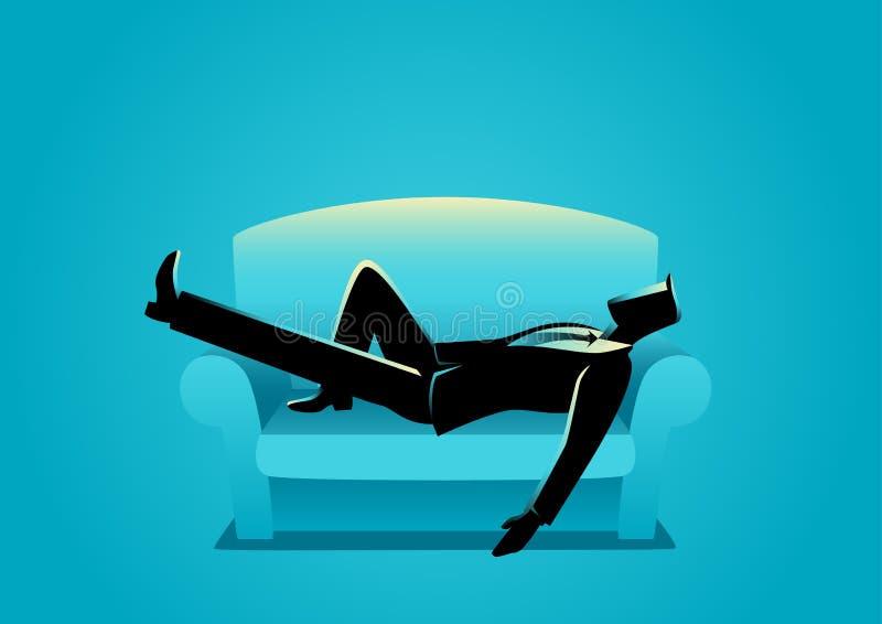 Affärsman Taking en Nap On Sofa stock illustrationer