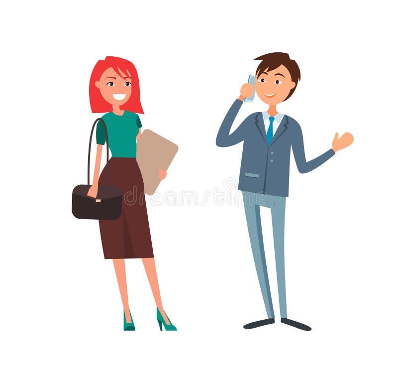Affärsman Talking på telefonaffärskvinnan Smiling royaltyfri illustrationer