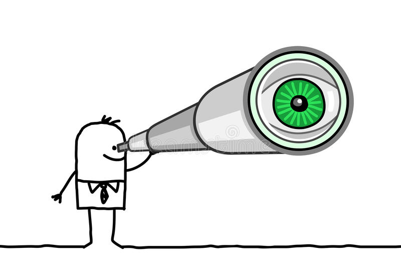 Affärsman & teleskop vektor illustrationer