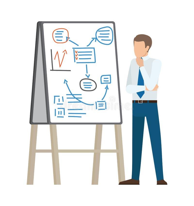 Affärsman Thinking på planvektorillustration stock illustrationer