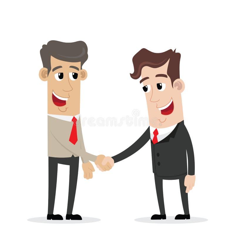 Affärsman två skriver in in i en handskakningöverenskommelse stock illustrationer